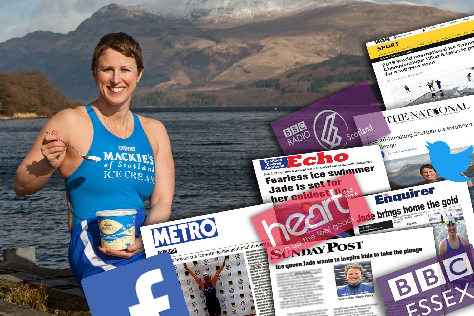 Food and Drink PR success post of Mackie's of Scotland's ice swimmer Jade Perry sponsorship.