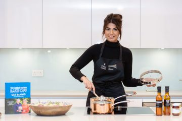 Property PR image of The Great British Bake Off finalist Ruby Bhogal baking in a kitchen at The Crescent by CALA Homes. Photoshoot organised by an Edinburgh PR agency, Holyrood PR.