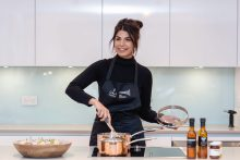 Ruby Bhogal, Bake off finalist, shows off her skills in the show appartment at The Crescent at an influencer event