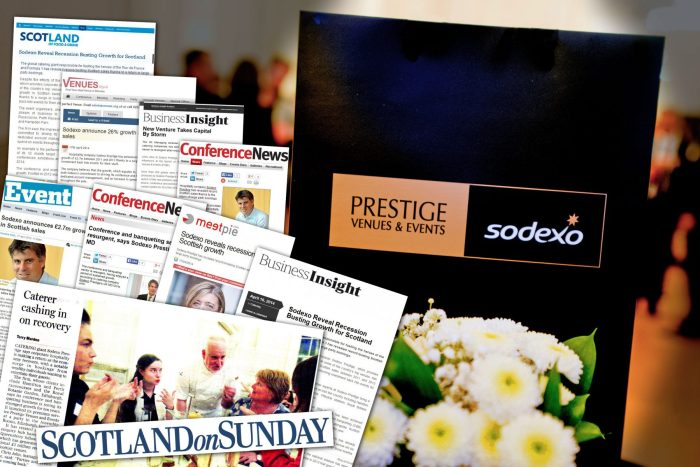 Coverage post shows success story for Sodexo, reporting £2.7m growth in Scottish sales between 2011 and 2013 despite economic downturn. Story by Scottish PR agency