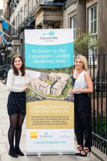 Property PR photography shows Gilson Gray, Canonmills Garden, Sale team Izzy Bastiani and Christie Turner