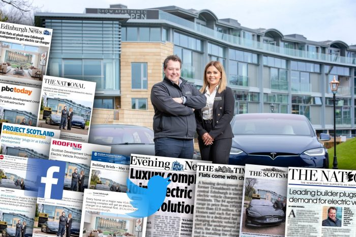 CALA is joining forces with Tesla and Jorro for a photo opportunity to promote the huge electric vehicle charging infrastructure at The Crescent Pictured Stacy MacMillan, Sales Consultant at The Crescent with David Pickles from Jorro with host of coverage achieved by property PR agency, Holyrood PR