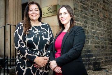 Legal PR photography of Denise Laverty and Philippa Cunniff following Denise's appointment at Gilson Gray