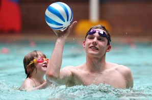 PR photography of Duncan Scott taking part in the Learn to Swim Programme at Hawick Swimming Pool