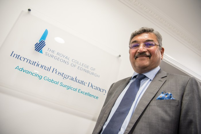 Scottish PR photograph of Royal College of Surgeons of Edinburgh Vice President, Pala Rajesh