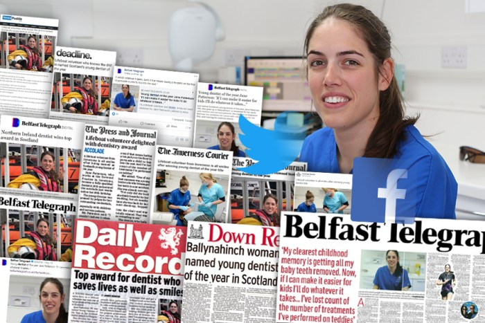 coverage achieved by dental PR experts, Holyrood PR on Clyde Munro's Jane Patterson - Scotland's Young Dentist of the Year