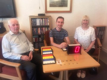 Charity PR agency shares news of 21-year-old student, Sam Conway, who volunteers as the bingo caller at Bield's Strathallan Court. Charity PR
