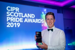 PR photograph of Holyrood PR Account Director Chris Fairbairn at CIPR PRide Awards 2019