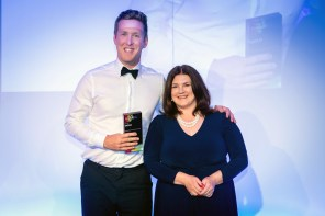 PR photograph of Holyrood PR Account Director Chris Fairbairn and Ruth MacLeod, Chair CIPR Scotland at CIPR PRide Awards 2019