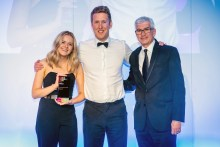 PR photograph of Catriona Quinn and Chris Fairbairn at CIPR PRide Awards 2019