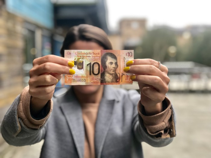 Scottish PR photograph of a £10 note