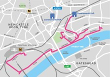 Map of Commsworlds proposed new business fibre network in Newcastle
