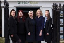 Gibson Kerr family law team standing outside the Dundas Street Edinburgh office