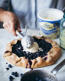Bea Lubas creating her Blueberry Galette with Mackie's traditional ice cream in digital PR success story by Edinburgh public relations experts