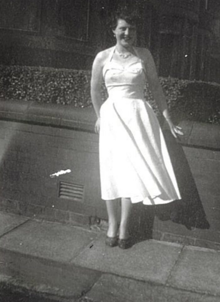 social care PR photography Dorothy in white dress 1950s Cramond Residence