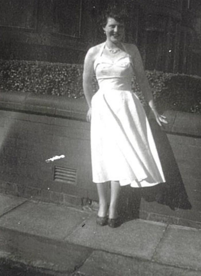 social care PR photography Dorothy in white dress 1950s Cramond Residence