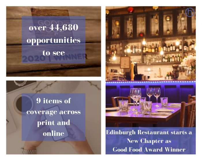 Food and Drink PR photography New Chapter win the Good Food award success post