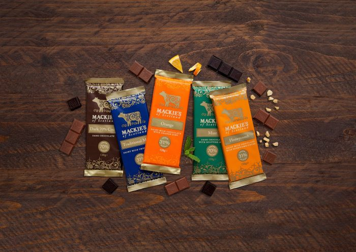 Food and Drink PR photography Mackie's of Scotland new flavour bar surrounded by other flavour bars
