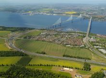 Property PR photography Aerial view of land at Builyeon Road and the Forth bridges CALA Homes (East)