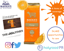 Food and Drink PR photography Mackie's of Scotland Chocolate Orange release success graphic