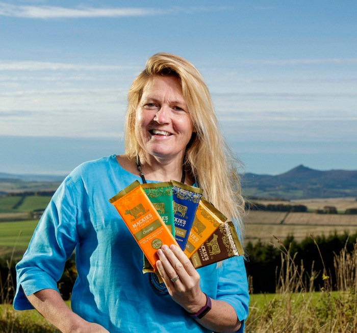 food and drink PR photography Kirstin Mackie with chocolate bars