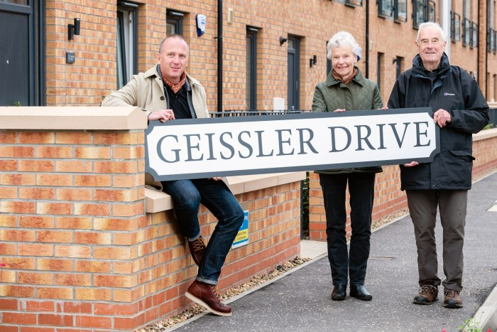 property PR photography shot of Martin, Betty and Paul Geissler, CALA Homes Leith Waterfront Plaza