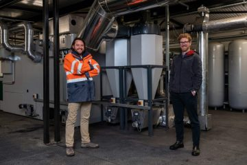 The Linen Quarter, Dunfermline, Dan Multon at the District Heating Installation with Jonathan Coppock Chartered Mechanical Engineer at Fife Council at the Dunfermline District Heating Plant