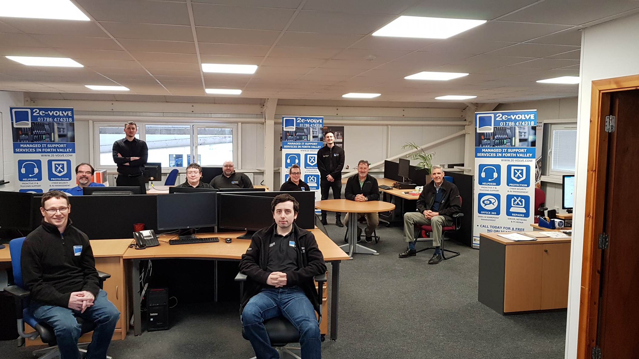 Group image of IT Services firm 2e-volve in its Stirling offices