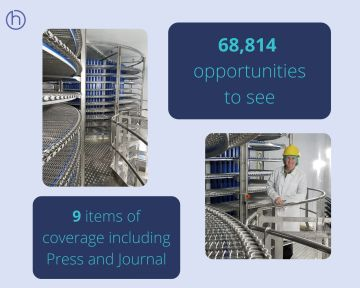 Food and Drink PR success post graphic of public relations expert Holyrood PR's spiral freezer story with Mackie's of Scotland