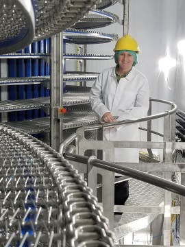 Food and Drink PR photography picture of Yzanne Turbett with spiral freezers, Mackie's of Scotland