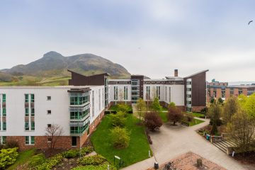 Scottish PR photography, Pollock Halls and Arthurs Seat, University of Edinburgh.