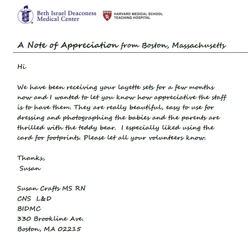 A Note Of Appreciation From Boston Ma Holy Sews