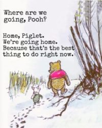 Pooh & Piglet walking on the edge of the woods