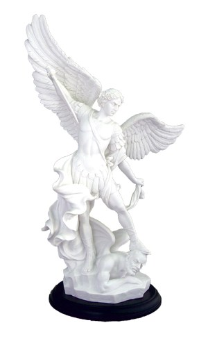 """A beautiful St. Michael in all white high quality black base, 15""""."""