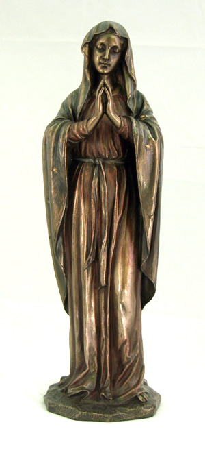 A beautiful Praying Virgin statue in cold-cast bronze and lightly hand-painted, 11.75inches.