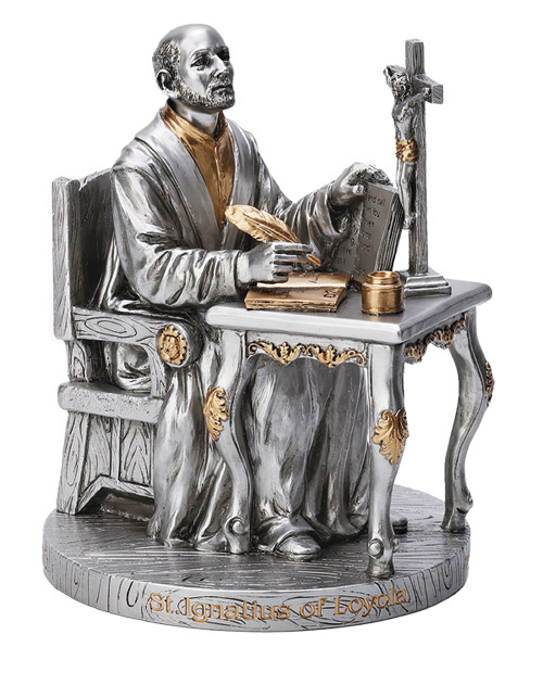 """A Veronese St. Ignatius of Loyola statue in a pewter style with gold trim, 6.5"""". Exclusive to Goldscheider in North America!"""