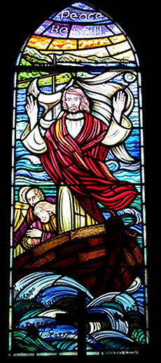 The window in the Watson Chapel depicting Jesus calming the storm on Lake Galilee