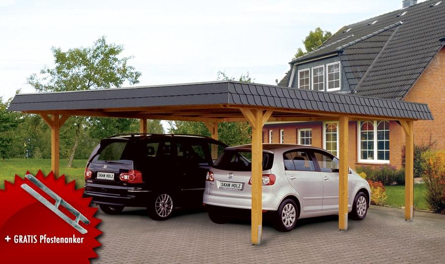 Holz Carport SKANHOLZ Wendland Walmdach Doppelcarport Vom Garten Fachhndler