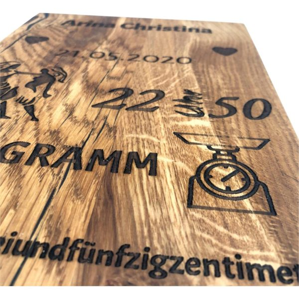 Geburtstafel Holzgravur Eiche
