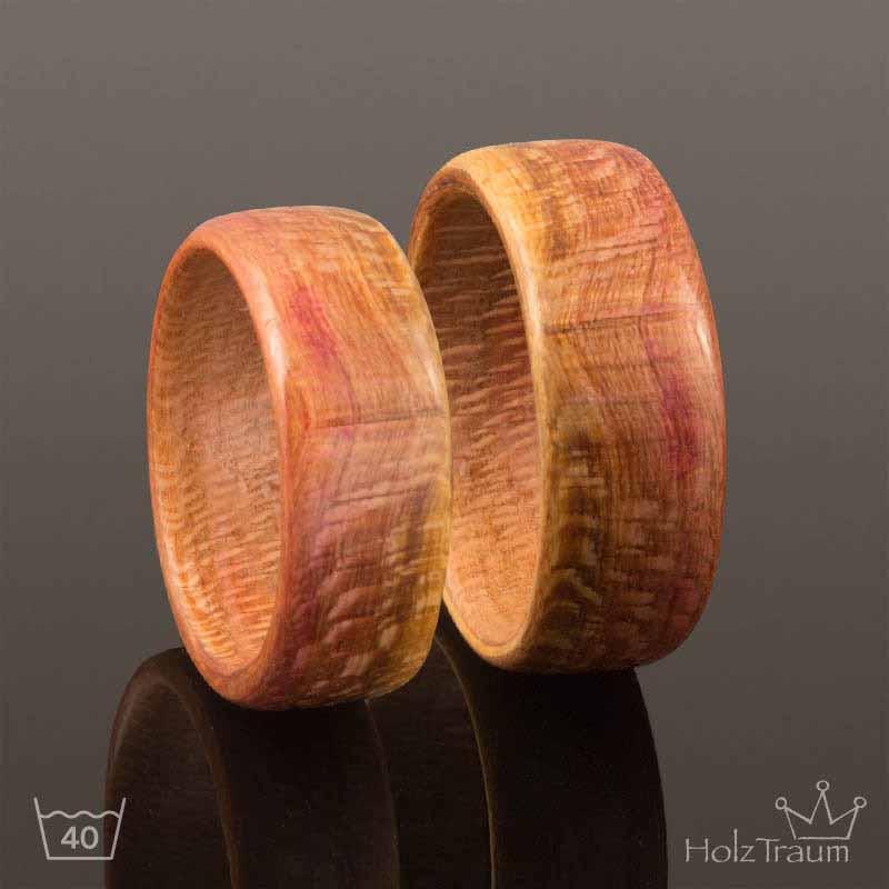 Zwei Holzringe aus Mirabellenholz Bentwood Ringe