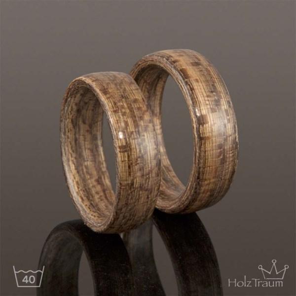 graue Holzringe aus Moorulmenholz Bentwood Ringe