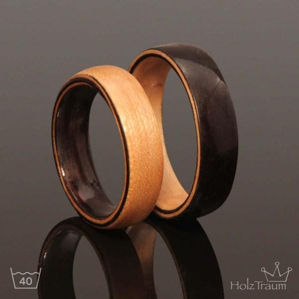 Yin Yang Holzringe Verlobungsringe aus Holz