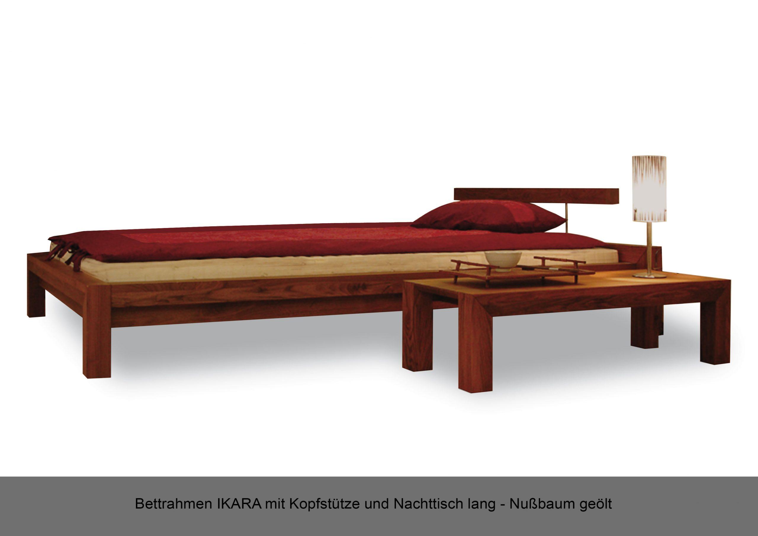 Bettrahmen Massivholz IKARA Kopfstütze Nachttisch lang Nussbaum geölt