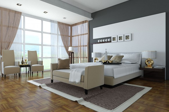 Luxury-modern-bedroom-with-upholstery-bed-with-bedside-table-bench-and-soft-armchairs