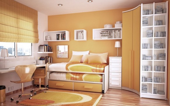 orange and white room