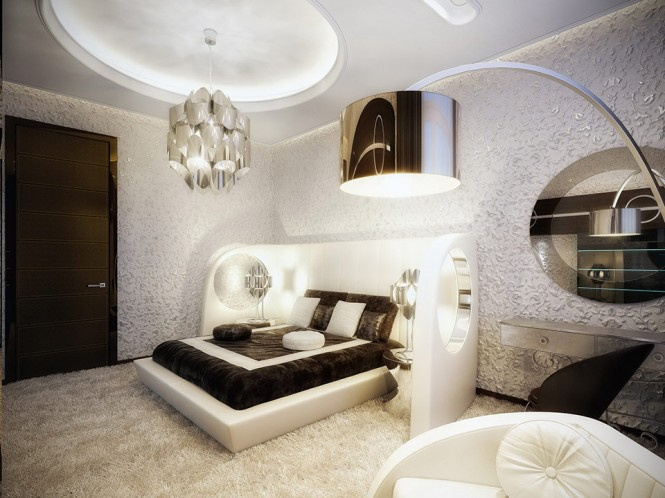 white and brown luxury bedroom