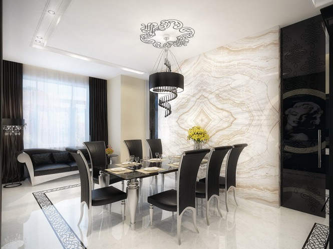 white marble dining room with black furniture