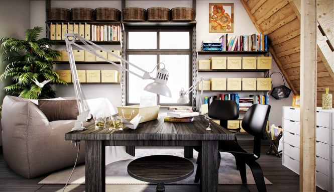 Image by Annkos To achieve your perfect zone of concentration and creativity, storage is key; get those files up out of the way on shelving to free up maximum desk space for your tasks and necessary gadgetry. Keep notes and clippings in a uniform collection of chic magazine files, not only will it organize your research but looks good too. Use attractive baskets to stash away supplies, your home shouldn't look as stiff and clinical as a standard workplace; try using rich wood grains to warm the look, and add friendly artwork. You can also soften your space with plush rugs and by situating a comfy corner chair for when it's time for an all-important tea break!
