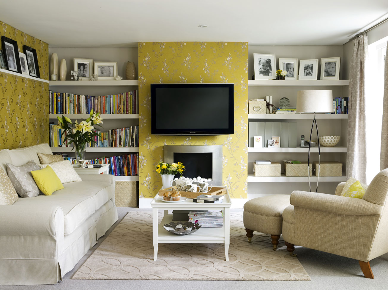 Yellow And White Living Room Designs