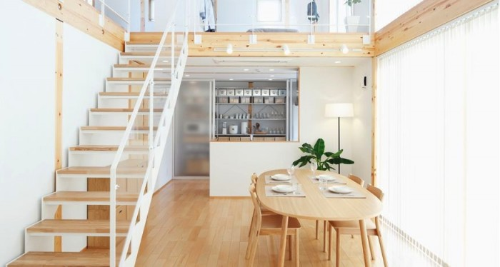 An urban Japanese loft promotes a calm, peaceful lifestyle through the use of the most basic essential materials of wood, glass and metal.